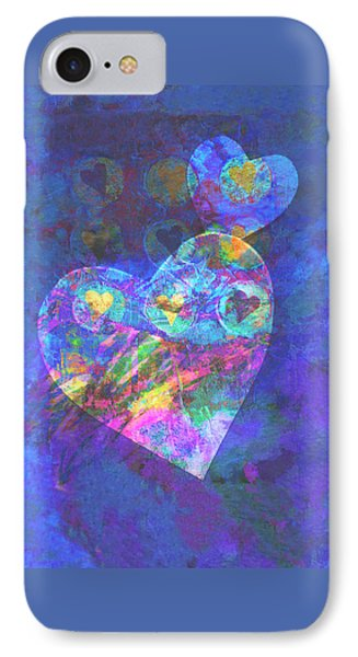 Hearts On Blue Phone Case by Ann Powell