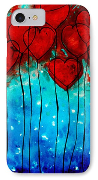 Hearts On Fire - Romantic Art By Sharon Cummings Phone Case by Sharon Cummings