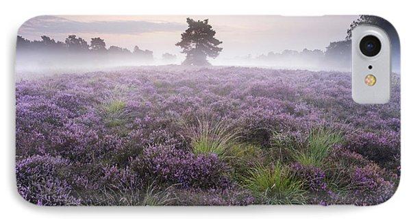 Heather With Fog Overijssel Netherlands IPhone Case by Ronald Kamphius