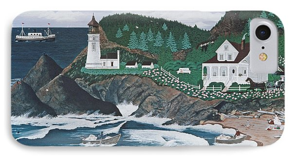IPhone Case featuring the painting Heceta Lighthouse by Jennifer Lake