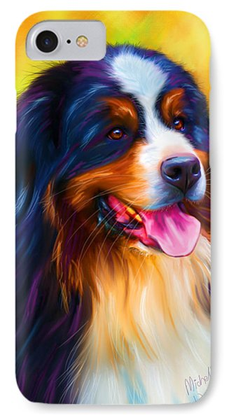 Colorful Bernese Mountain Dog Painting Phone Case by Michelle Wrighton