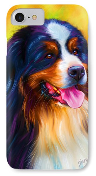 Colorful Bernese Mountain Dog Painting IPhone Case by Michelle Wrighton