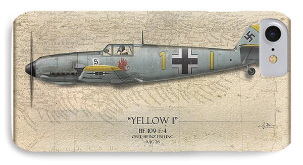 Heinz Ebeling Messerschmitt Bf-109 - Map Background Phone Case by Craig Tinder