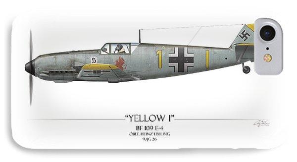 Heinz Ebeling Messerschmitt Bf-109 - White Background IPhone Case by Craig Tinder