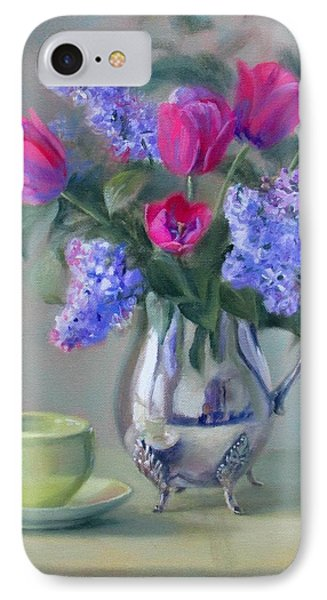 Heirlooms- Lilacs And Tulips In A Silver Pitcher IPhone Case by Bonnie Mason