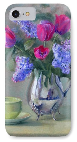 Heirlooms- Lilacs And Tulips In A Silver Pitcher Phone Case by Bonnie Mason