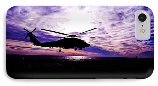 Helicopter Silhouette At Sunset Phone Case by Mountain Dreams