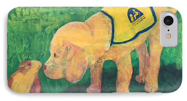 IPhone Case featuring the painting Hello - Cci Puppy Series by Donald J Ryker III