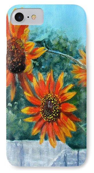 Hello Neighbor-sunflowers Over The Fence IPhone Case by Bonnie Mason