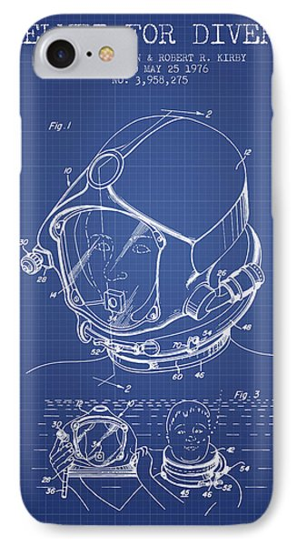 Helmet For Divers Patent From 1976 - Blueprint IPhone Case by Aged Pixel