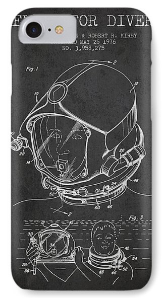 Helmet For Divers Patent From 1976 - Dark IPhone Case by Aged Pixel
