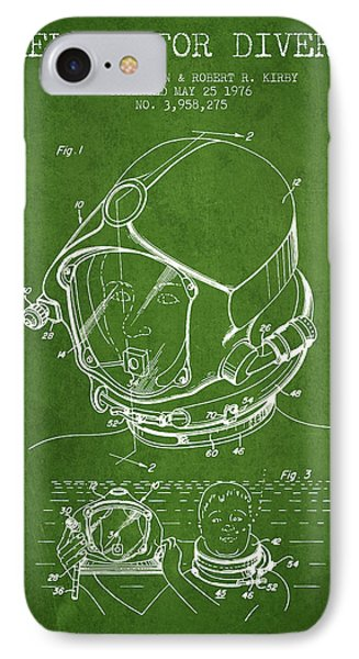 Helmet For Divers Patent From 1976 - Green IPhone Case by Aged Pixel