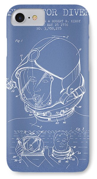 Helmet For Divers Patent From 1976 - Light Blue IPhone Case by Aged Pixel
