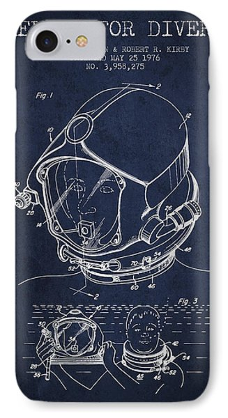 Helmet For Divers Patent From 1976 - Navy Blue IPhone Case by Aged Pixel