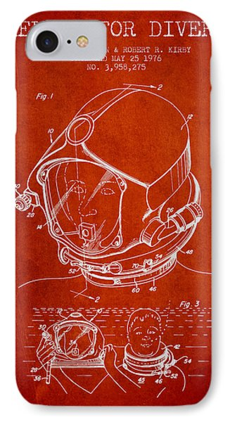 Helmet For Divers Patent From 1976 - Red IPhone Case by Aged Pixel