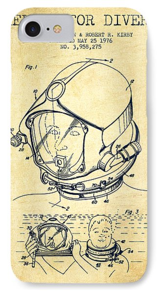 Helmet For Divers Patent From 1976 - Vintage IPhone Case by Aged Pixel