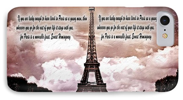 Hemingway And Paris IPhone Case by Dan Sproul