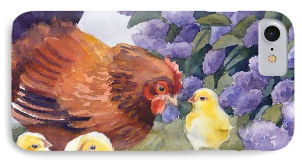 Hen And Chicks Chicken Art IPhone Case by Janet  Zeh