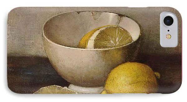 Henk Bos Fruits Still Life Lemons With White Bowl Phone Case by Pierpont Bay Archives