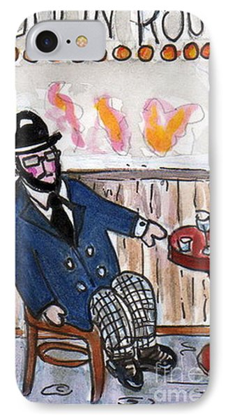 IPhone Case featuring the painting Henri Always Enjoys His Evenings. by Joyce Gebauer