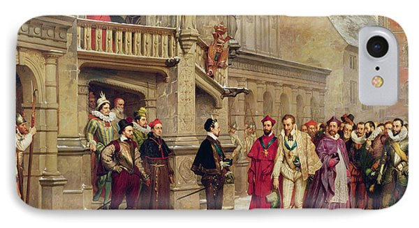 Henri IIi And The Duc De Guise, 1855 Oil On Canvas IPhone Case by Pierre Charles Comte