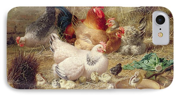 Hens Roosting With Their Chickens IPhone 7 Case by Eugene Remy Maes