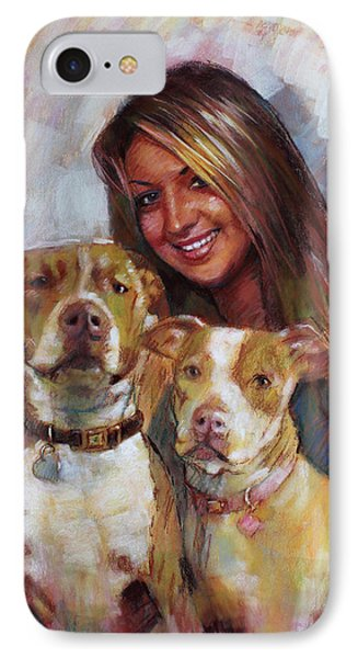 IPhone Case featuring the drawing Her Best Friends by Viola El