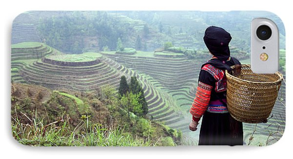 Her Rice Terraces IPhone Case by King Wu