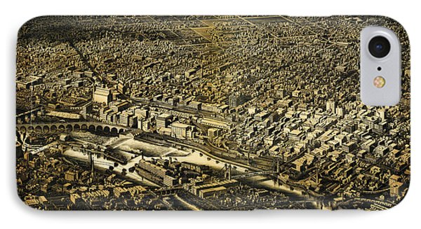 Herancourts Birdseye Of Minneapolis 1885 IPhone Case by MotionAge Designs