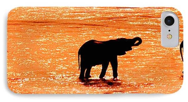 Herd Of African Elephants Loxodonta IPhone Case by Panoramic Images