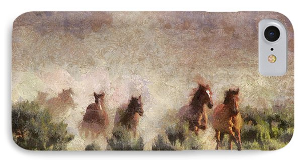IPhone Case featuring the painting Herd Of Wild Horses by Georgi Dimitrov