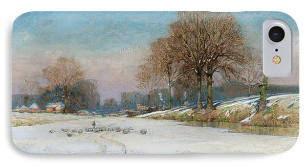 Herding Sheep In Wintertime IPhone Case by Frank Hind