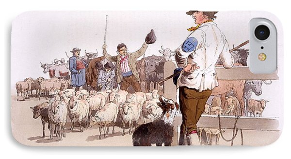 Herdsmen Of Sheep And Cattle, From The IPhone Case by William Henry Pyne