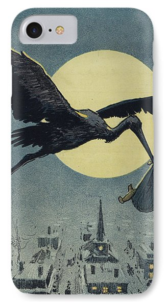 Stork iPhone 7 Case - Here Comes The Stork Circa Circa 1913 by Aged Pixel