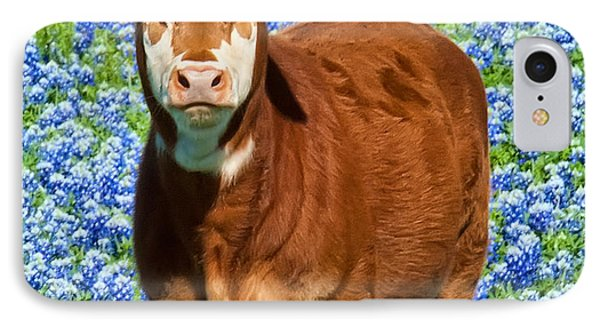 IPhone Case featuring the photograph Heres Looking At You Kid - Calf With Bluebonnets In Texas by David Perry Lawrence