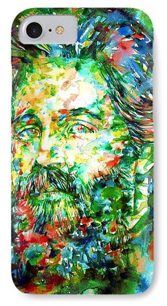 Herman Melville Watercolor Portrait Phone Case by Fabrizio Cassetta