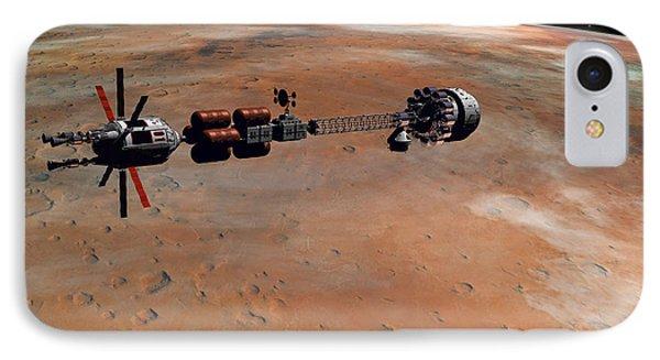 IPhone Case featuring the digital art Hermes1 Orbiting Mars by David Robinson
