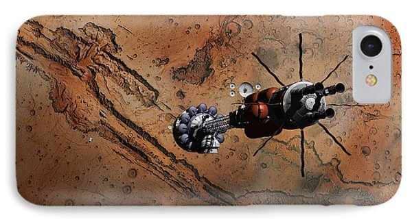 IPhone Case featuring the digital art Hermes1 With The Mars Lander Ares1 In Sight by David Robinson
