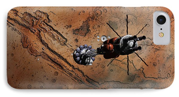 Hermes1 With The Mars Lander Ares1 In Sight IPhone Case by David Robinson