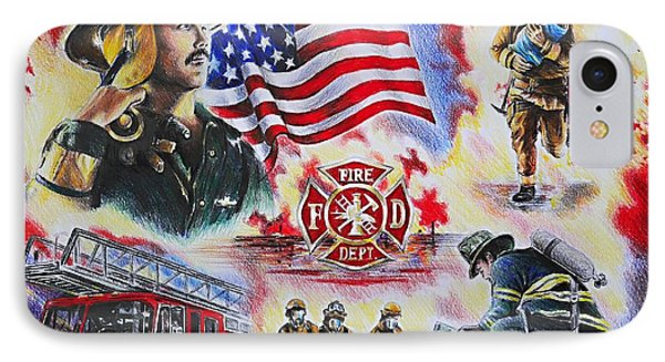 Heroes Collection American Firefighter IPhone Case by Andrew Read