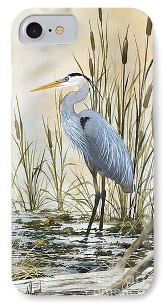 Heron iPhone 7 Case - Heron And Cattails by James Williamson