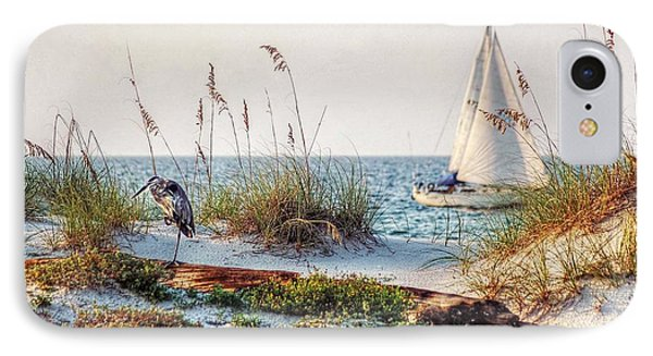 Heron And Sailboat Larger Sizes IPhone Case by Michael Thomas
