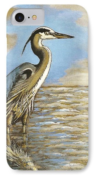 IPhone Case featuring the painting Heron At Bay by VLee Watson