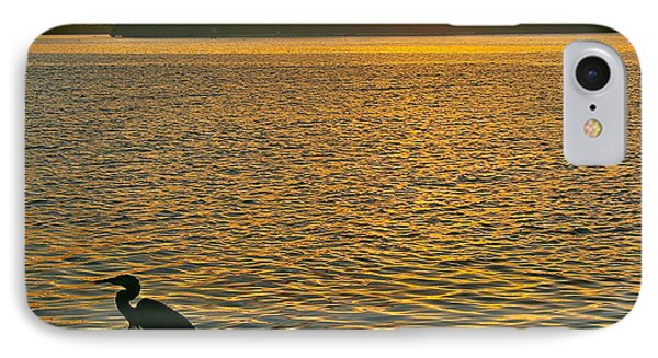 IPhone Case featuring the photograph Heron Hunting At Sunrise by Joan McArthur