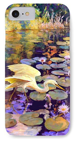Heron In Lily Pond IPhone Case by David  Van Hulst