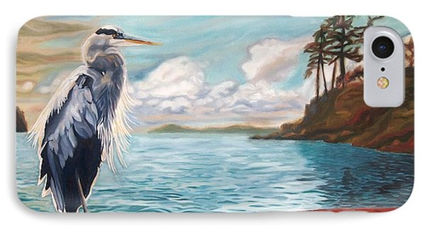IPhone Case featuring the painting Heron Mystique by Janet McDonald
