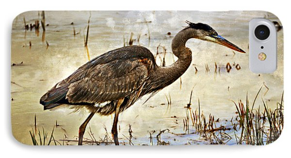 Heron On A Cloudy Day Phone Case by Marty Koch