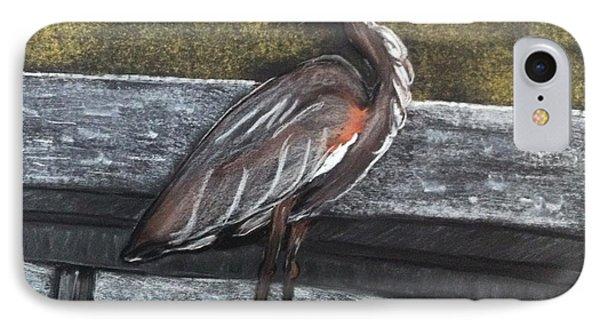 Heron On Hunting Island Fishing Dock IPhone Case