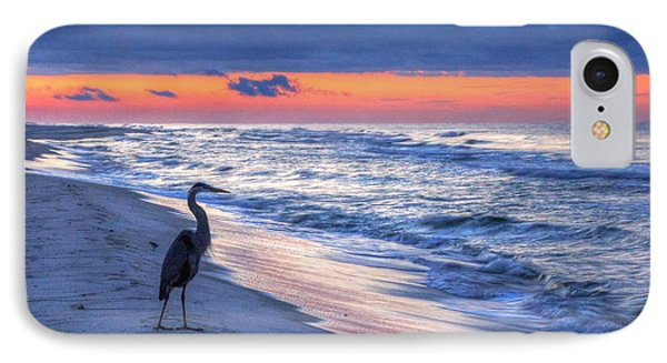 Heron On Mobile Beach IPhone Case by Michael Thomas