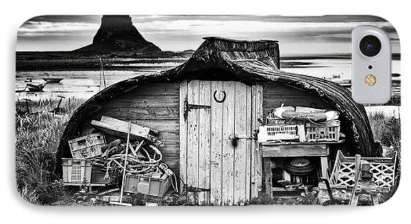 Herring Boat Hut Lindisfarne Monochrome Phone Case by Tim Gainey